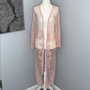 Baby Pink Embroidered Kimono